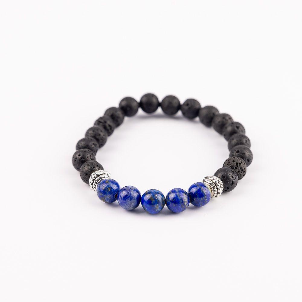 Náramok na ruku Morská vlna Lapis lazuli - Lávový kameň