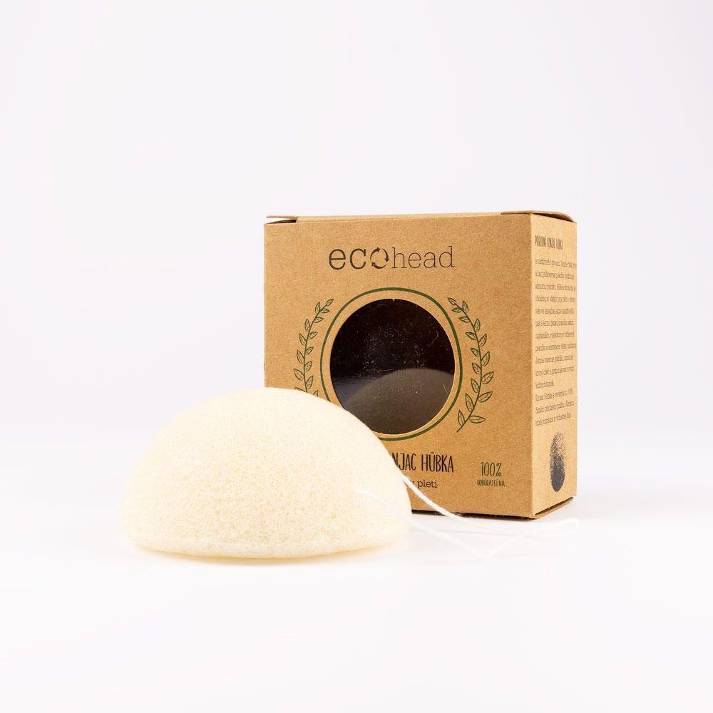 Prírodná a rozložiteľná konjac hubka Ecohead biela