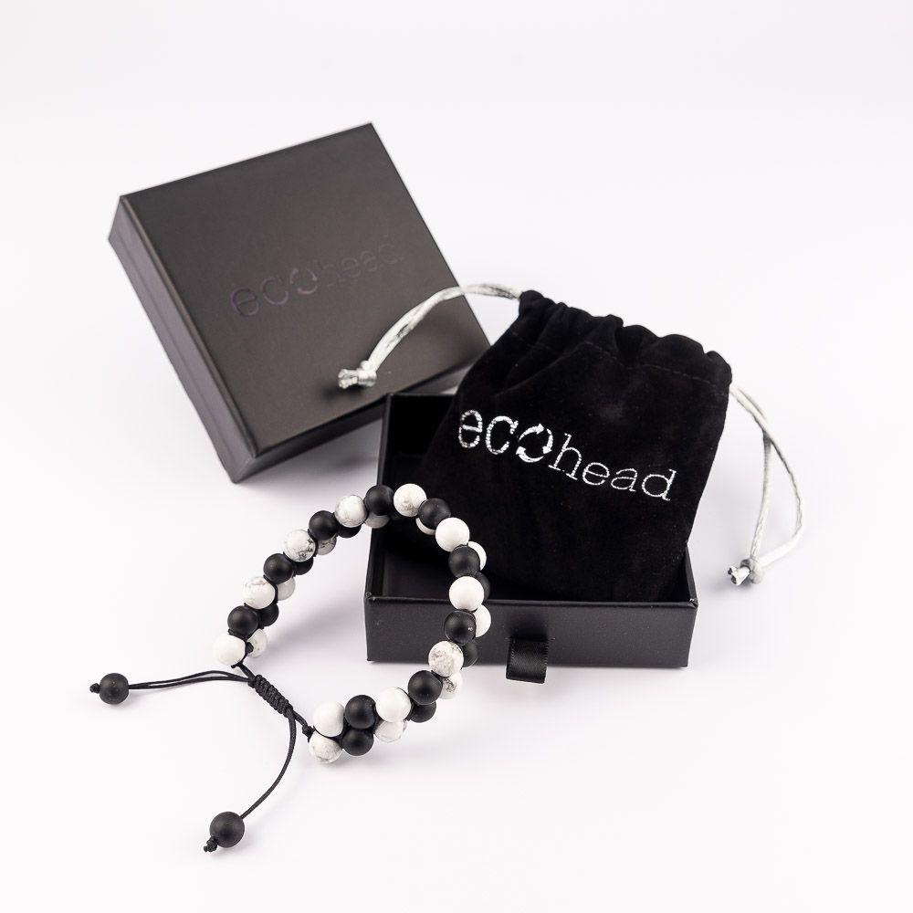 Náramok na ruku čierno-biely s darčekovou krabičkou