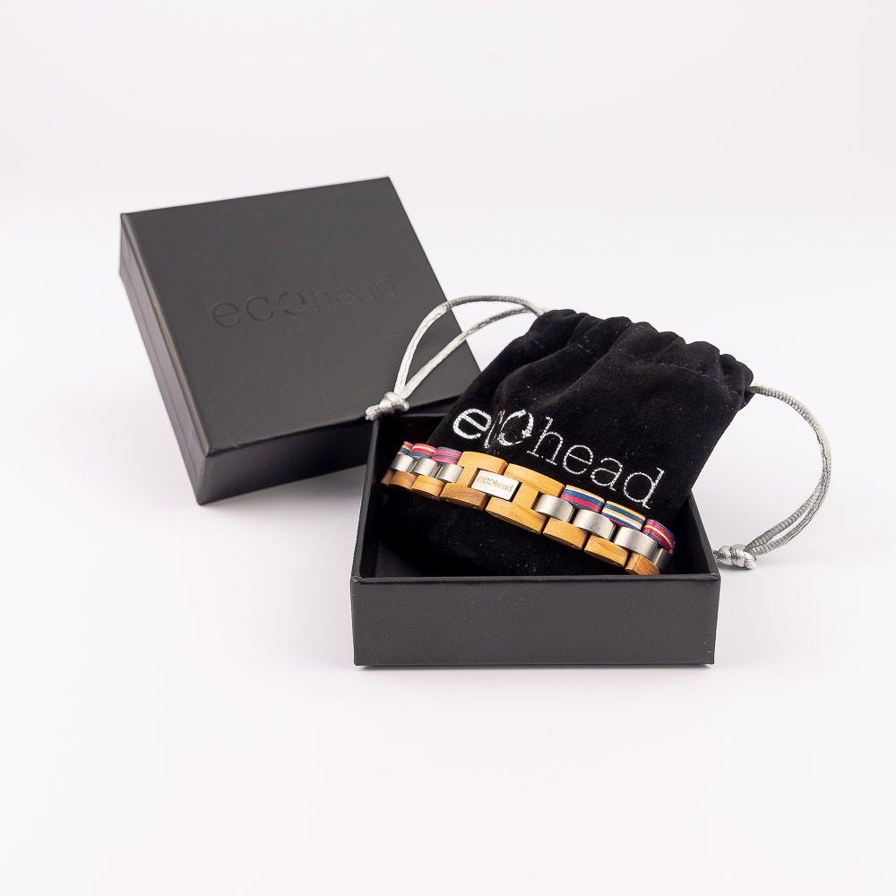 Drevený náramok na ruku pre mužov aj ženy - Biela dúha v krabičke