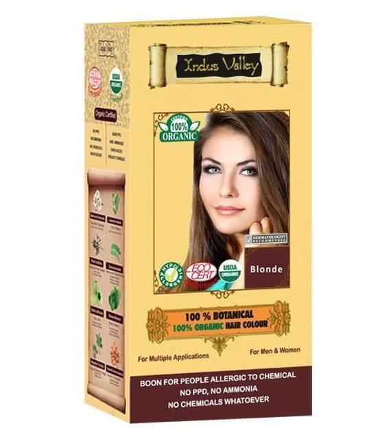 100% Organická a 100% rastlinná farba na vlasy Indus Valley odtieň Blond