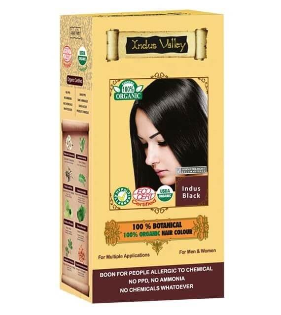 Čierna farba na vlasy Indus Valley 100% Organická a 100% rastlinná