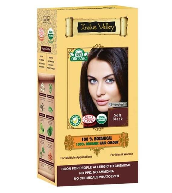 Jemná čierna farba na vlasy Indus Valley 100% Organická a 100% rastlinná