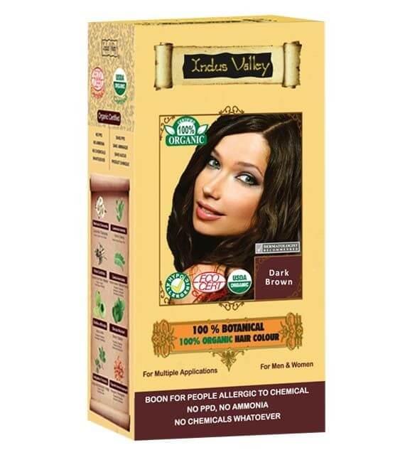 Tmavohnedá farba na vlasy Indus Valley 100% Organická a 100% rastlinná
